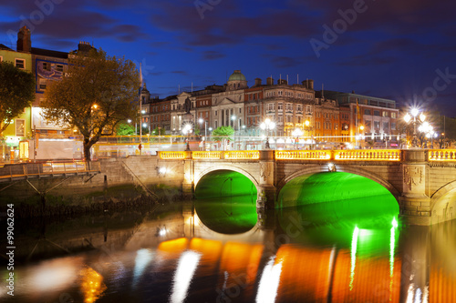 Dublin at night down by the Liffey River Wallpaper Mural