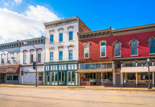 Downtown Main Street USA Business Storefronts In Small American Town
