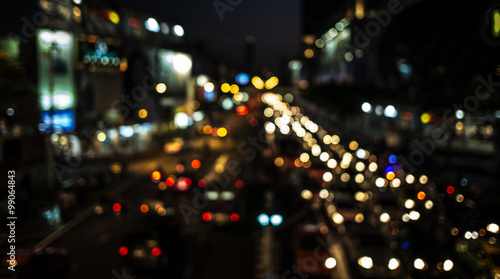 Bokeh Lights of traffic at night in the city