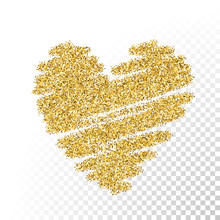 Vector Gold Glitter Particles Heart