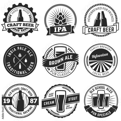 Set of vintage craft beer labels and emblems. Vector beer badges Wallpaper Mural