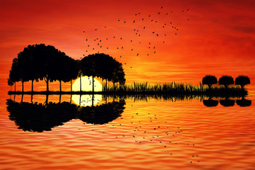 FototapetaTrees arranged in a shape of a guitar on a sunset background. Music island with a guitar reflection in water