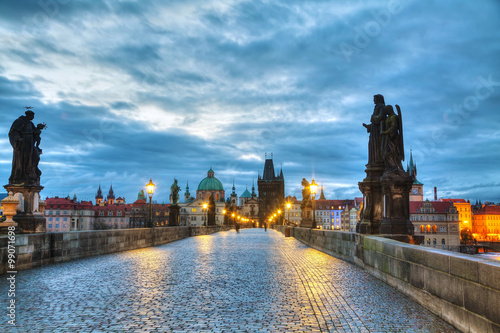 Charles bridge in Prague at sunrise Poster