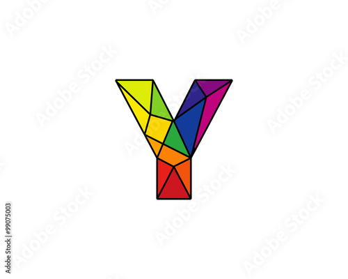 colorful connected line letter y logo design template element