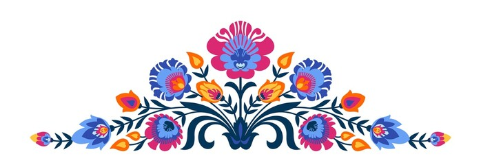 Polish folk papercut style flowers