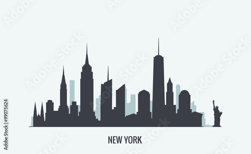 New York skyline silhouette - 99075624