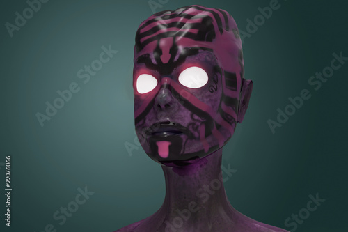 Photo  3d alien portrait