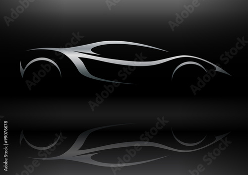 Plakat  Concept silver sportscar vehicle silhouette with reflection
