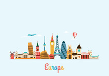 Europe Skyline. Travel And Tourism Background.