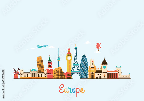 Europe skyline. Travel and tourism background. Canvas Print