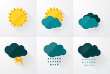 Set Of Weather Vector Icons Flat Design