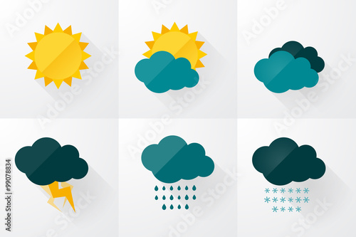 Fotografie, Obraz set of weather vector icons flat design