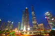 Shanghai Pudong urban skyscrapers at night, China