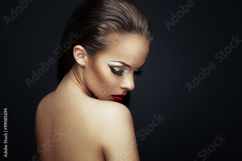 Portrait of beautiful woman with nice makeup Poster