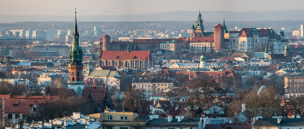 Fototapety, obrazy: Panoramic view of Royal Wawel Castle in Krakow and St. Joseph's Church, view from Krakus Mound