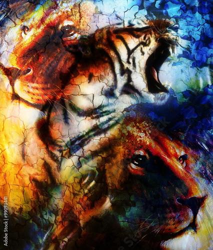 Portrait Lion And Tiger Face Profile Portrait On Colorful