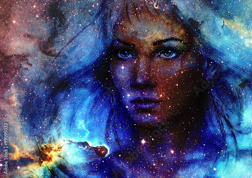 Valokuva Beautiful Painting Goddess Woman and  Color space background with stars
