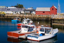 Scenic View Of Lobster Boats M...