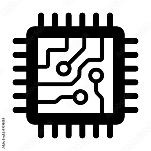 Fotografie, Obraz  Computer chip circuit board flat icon for apps and websites