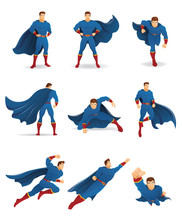 Superhero In Action. Set Of Superhero Character In 9 Different Poses With Blue Cape And Blue Suit. You Can Place Your Company Name And Logo On Their Chest.