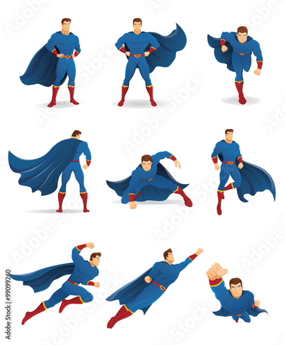 Superhero In Action Set Of Superhero Character In 9 Different Poses With Blue Cape And Blue Suit You Can Place Your Company Name And Logo On Their Chest Buy This Stock