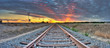 canvas print picture - Panoramic view of railroad tracks crossing the frame from right to left.