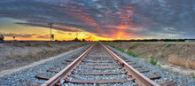 Panoramic View Of Railroad Tra...