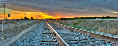 Printed kitchen splashbacks Railroad Panoramic view of railroad tracks crossing the frame from right to left.