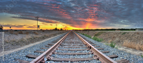 Foto op Canvas Spoorlijn Panoramic view of railroad tracks crossing the frame from right to left.
