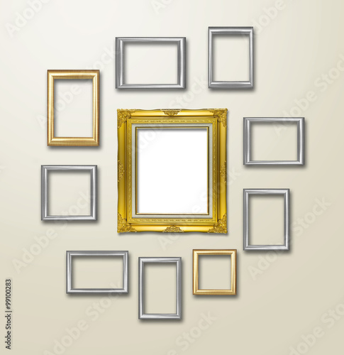 Gold Frame decor on wallpaper with light flare. - Buy this stock ...