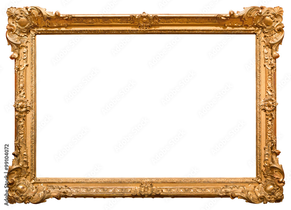 Fototapeta Gold picture frame. Isolated on white background