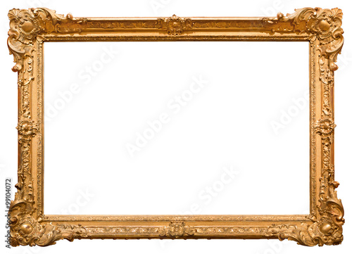 Gold picture frame. Isolated on white background Fototapet
