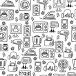 Home electronics sketch vector seamless pattern.