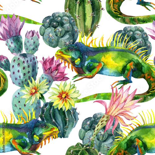 Photo sur Aluminium Aquarelle la Nature Watercolor seamless cactus pattern