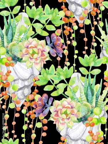 Cotton fabric Watercolor succulents.