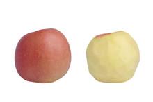 Isolated Image Peeled Apple On A White Background