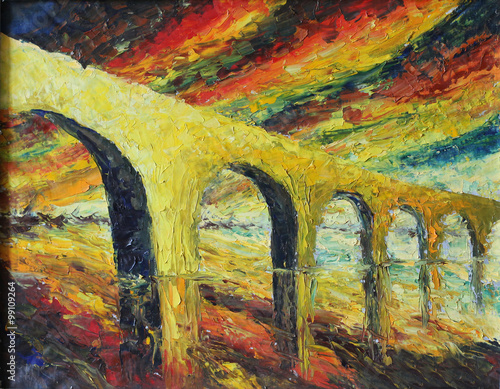 abstract bridge at sunset, reflection in water, oil painting