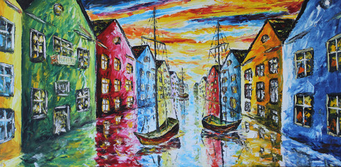 Fototapeta Wenecja Venice boat floating in the streets, oil painting