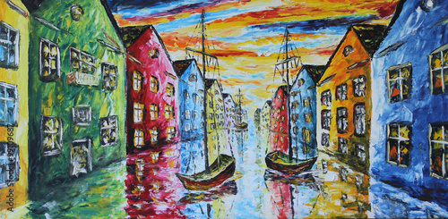 Venice boat floating in the streets, oil painting - 99109687