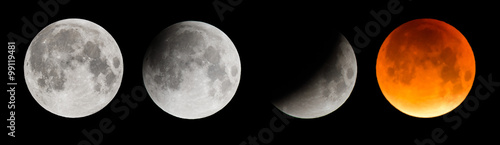 Composite image of the moon during a total lunar eclipse Wallpaper Mural