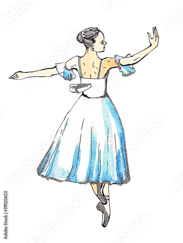 Ballet Dancer Performing Silfide Black And Silver Drawing On A Blue Watercolor Isolated On White Background Template For Scrapbook Buy This Stock Illustration And Explore Similar Illustrations At Adobe Stock