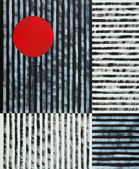 Obraz na Szklean abstract painting, black and white stripes with a red disc