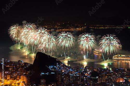 In de dag Rio de Janeiro Famous New Year Firework Display in Copacabana Beach in Rio de Janeiro