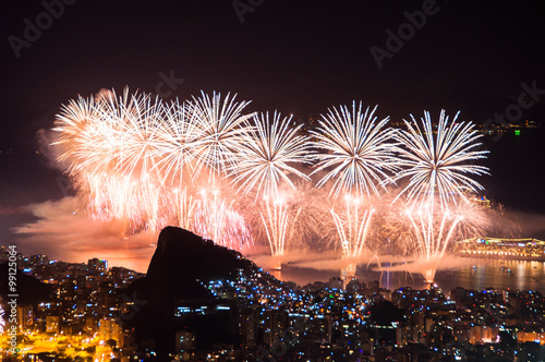 Famous New Year Firework Display in Copacabana Beach in Rio de Janeiro Poster