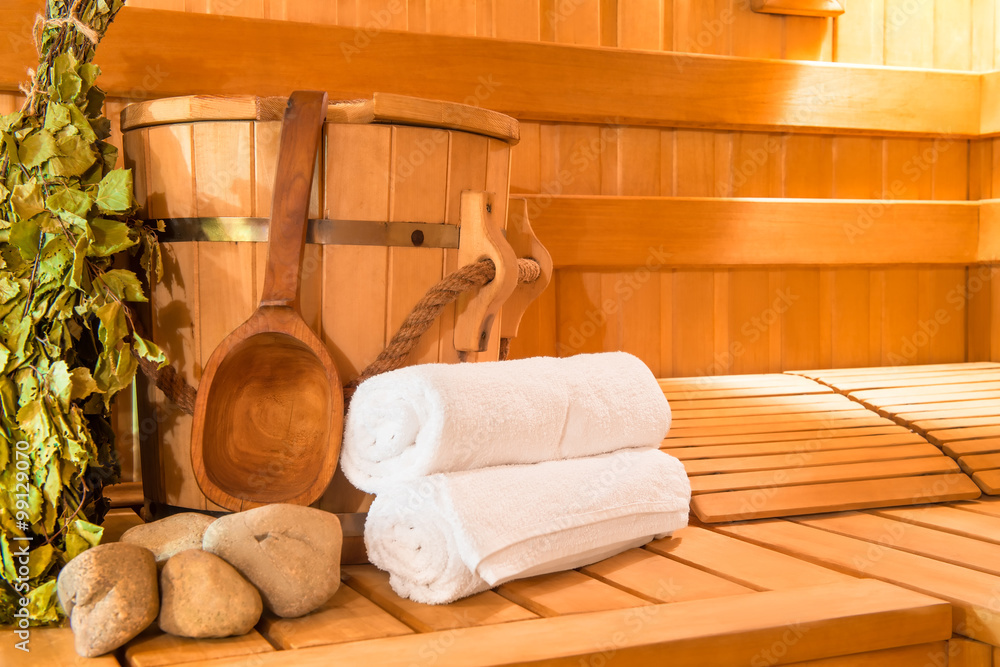 Fototapeta wooden Finnish sauna, shooting objects in the the empty steam ro