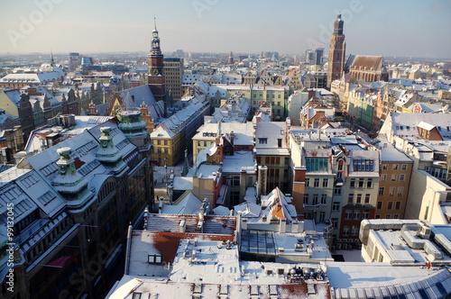 Fotografia  Wrocław - panorama zaśnieżonego zimą miasta