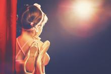 Little Girl Ballerina Ballet Dancer On Stage In Red Side Scenes