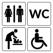 WC Signs Set. Man, Woman, Mother With Baby And Handicapped Silhouettes Isolated On White Background. Male And Female Toilet Door Icons. Lady And Gentleman Restroom Symbol. Cast Logo Concepts. Vector