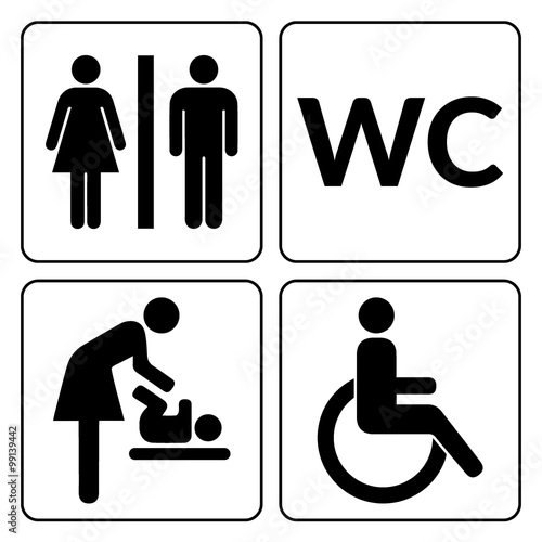Man Woman Mother With Baby And Handicapped Silhouettes Isolated On