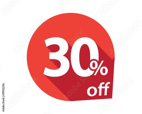 Tela  30 percent discount off red circle